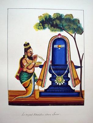Patanjali kneels before a linga 1850 (circa) Tamil Nadu