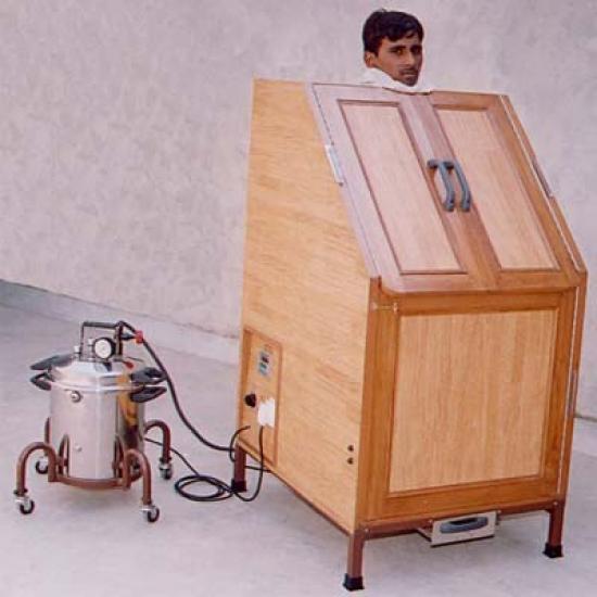 Steam chamber. Image found at http://www.indiamedico.com/panchakarma_ayurvedic_products/vashap_swedan_cabin.php