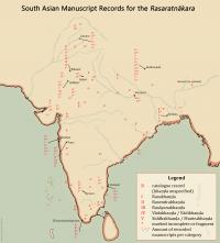 Map of Rasaratnakara mss in India created by Keith Cantú for AyurYog